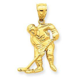 Hockey Player with Stick And Puck Pendant (JC-702)