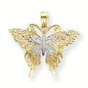 Two Tone Filigree Butterfly Pendant (JC-958)