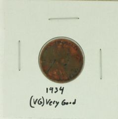 1934 United States Lincoln Wheat Penny Rating (VG) Very Good