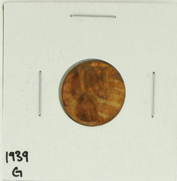 1939 United States Lincoln Wheat Penny Rating (G) Good