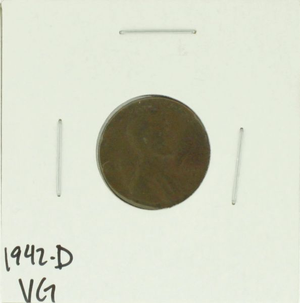 1942-D United States Lincoln Wheat Penny Rating (VG) Very Good