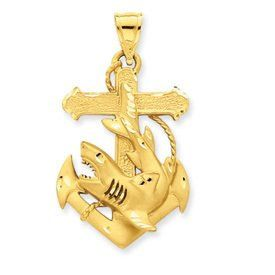 Diamond Cut Anchor with Shark Charm (JC-730)