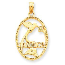 Jamaica with Bird & Flowers Pendant (JC-871)