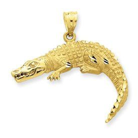 Diamond Cut Solid Satin Finish Alligator Pendant (JC-921)