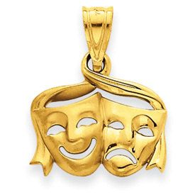Satin Polished Comedy Tragedy Open Back Charm (JC-936)