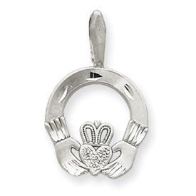 Diamond Cut Satin Finish Claddagh Charm (JC-948)