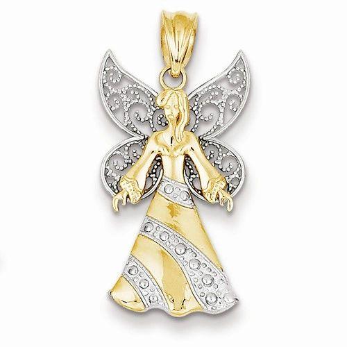 Rhodium Angel Pendant