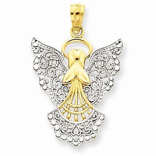 Rhodium Filigree Angel Pendant