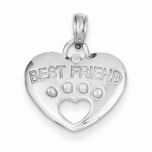 Best Friend On Heart with Cut-Out Paw Pendant