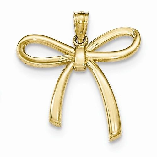 Polished Ribbon Bow Pendant