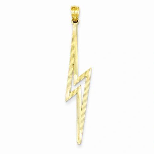 Polished Diamond Cut Lightning Bolt Pendant (JC-1106)
