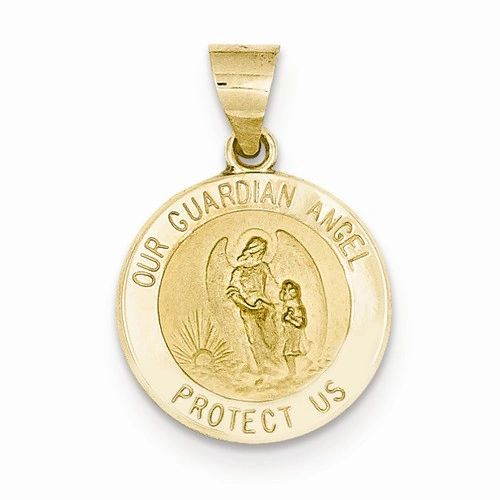 Polished And Satin Our Guardian Angel Medal Pendant (JC-1078)