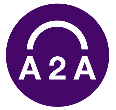 Logo Purple circle with the following characters in white: A2A with an arch above.
