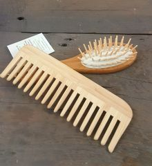 Bamboo Detangling Comb + Scalp Massage Brush Set