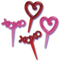 XOXO Heart Valentine Cupcake Picks 12 Piece
