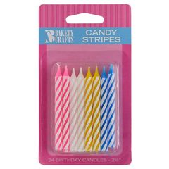 Candles Assorted Candy Stripes Spiral 24 Piece