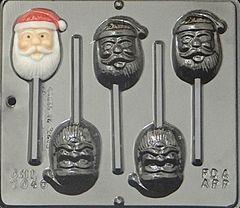 Santa Face 4 Cavity Lollipop Chocolate Craft Candy Mold