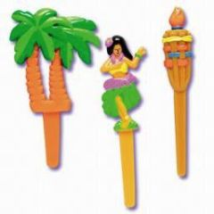 Hawaiian Luau Hula Girl Palm Tree Tikki Torch Novelty Cupcake Picks 12 Piece