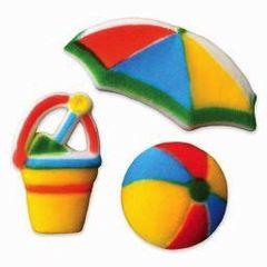 Fun in the Sun Sugar Decorations 3 Piece Includes Umbrella, Beach Ball, Pail