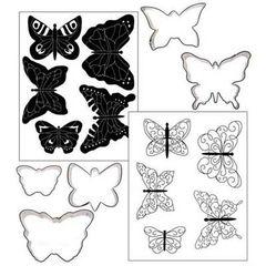 Butterflies Cookie Cutter Texture Set of 5