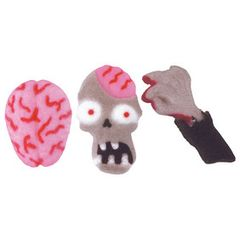 Zombie Brain Face Hand Edible Sugar Decorations 6 Piece