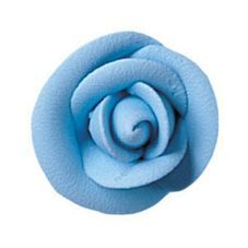 Party Blue Small Royal Icing Roses 1 1/8 inch 10 Piece