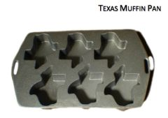 State of Texas Shaped Cake Muffin 6 cavity Cast Aluminum Pan