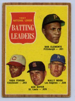 35. 1962 TOPPS BASEBALL CARD #52 - CLEMENTE