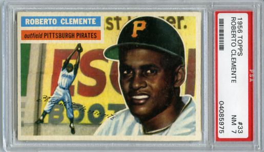 1956 TOPPS ROBERTO CLEMENTE 2nd. YR CARD #33, PSA 7