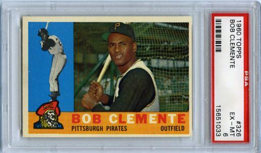 1960 TOPPS ROBERTO CLEMENTE CARD #326, PSA 6