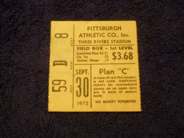 Roberto Clemente 3000th hit game ticket stub - September 30, 1972