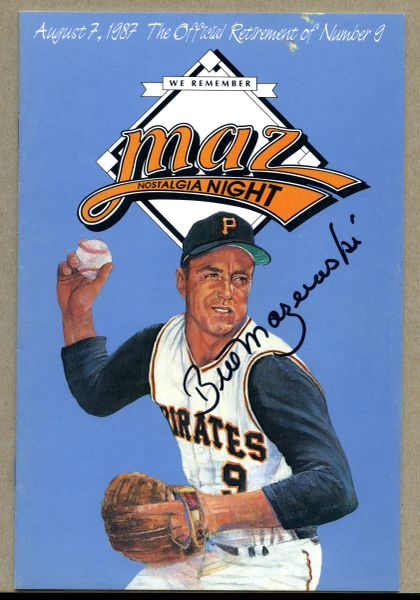 Bill Mazeroski, Pittsburgh Pirates signed Maz Night program