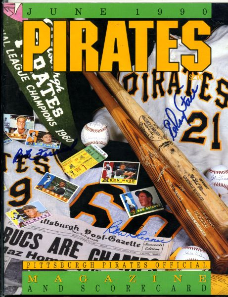 Bob Friend, Bob Skinner, Elroy Face signed Pittsburgh Pirates program