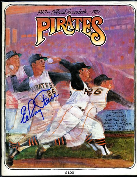 Elroy Face, Pittsburgh Pirates signed 1987 Pirates scorebook