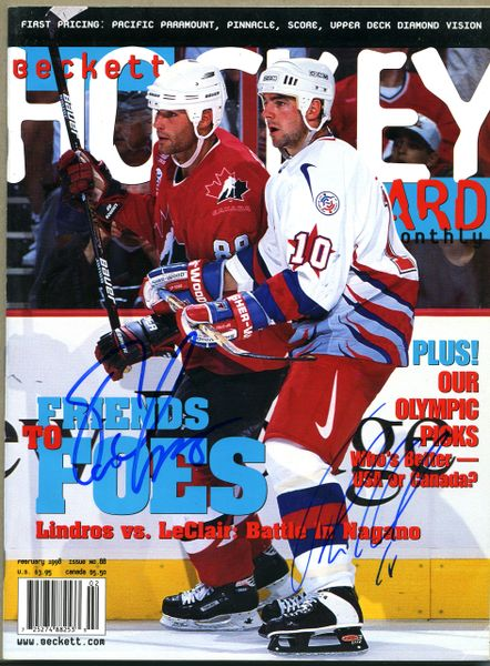 Eric Lindros & John LeClair, Phila. Flyers signed Beckett hockey price guide