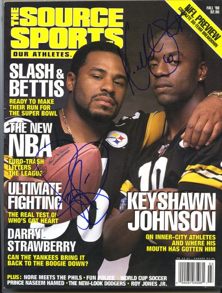 Jerome Bettis & Kordell Stewart, Steelers signed The Source Sports magazine