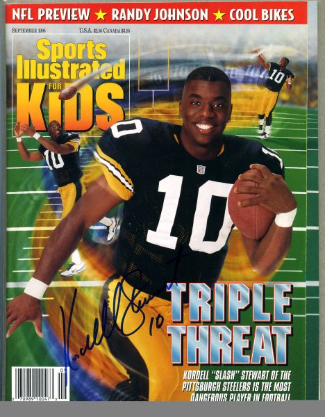 Kordell Stewart, Pittsburgh Steelers signed Sports Illustrated for Kids