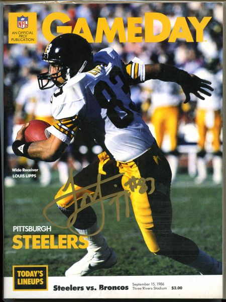 Louis Lipps, Pittsburgh Steelers signed Gameday program