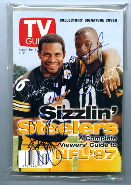 Jerome Bettis & Kordell Stewart, Steelers signed 1997 TV Guide