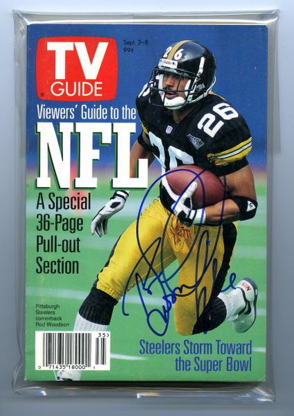 Rod Woodson, Pittsburgh Steelers signed 1995 TV Guide