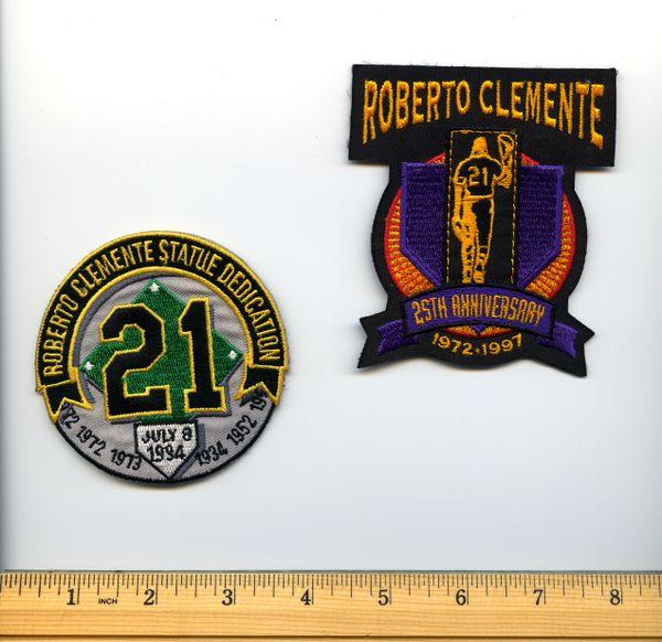 (2) Roberto Clemente, Pirates original commemorative patches