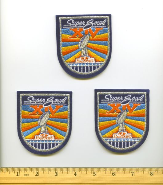 (3) Super Bowl 14 commemorative patches, Steelers vs. Rams
