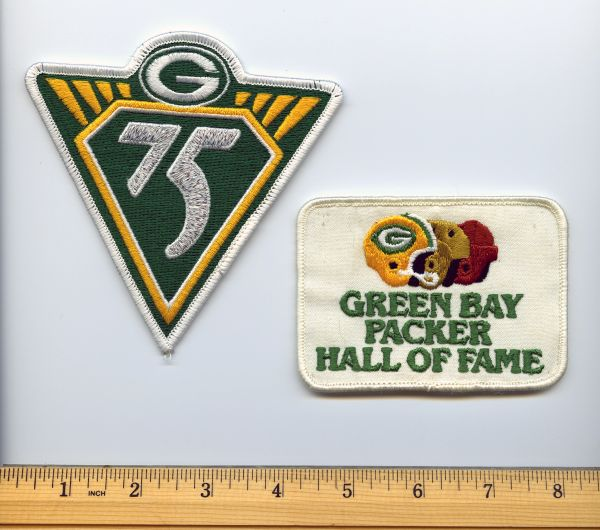 (2) Green Bay Packers patches - 75yr anniv. & HOF