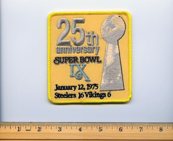 Super Bowl IX 25 year anniversary commemorative patch, Steelers vs. Vikings