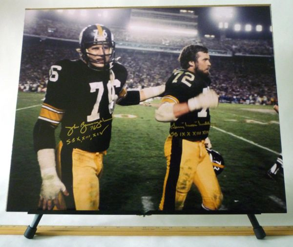 John Banaszak & Gerry Mullins, Pittsburgh Steelers signed 16x20 photo