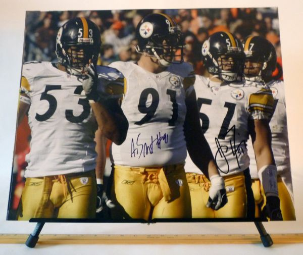 Aaron Smitrh & James Farrior, Pittsburgh Steelers signed 16x20 photo