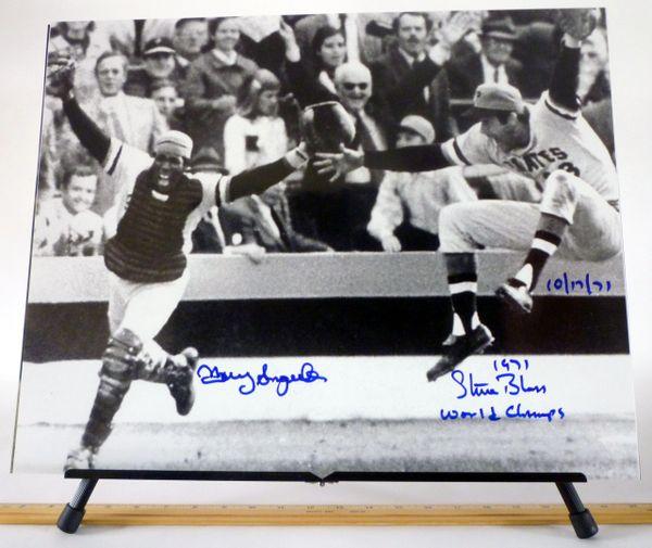 1971 World Series - Manny Sanguillen & Steve Blass Pittsburgh Pirates signed 16x20 photo