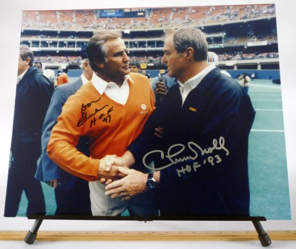 Don Shula, Miami Dolphins & Chuck Noll, Pittsburgh Steelers signed 16x20 photo