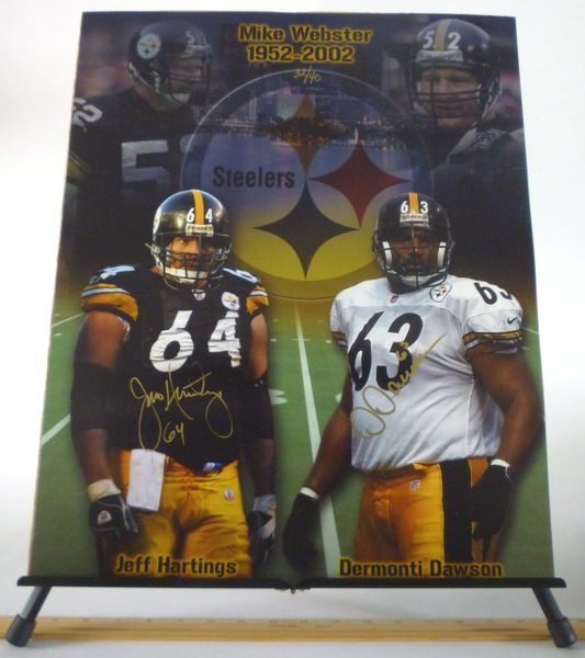 Jeff Hartings & Dermonti Dawson, Pittsburgh Steelers signed 16x20 photo
