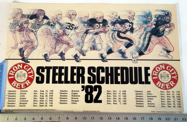 Iron City Beer - Pittsburgh Steelers - 1982 poster schedule